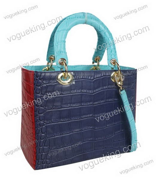 Christian Dior Small Lady Cannage Golden D Tote Bag Blue Croc Calfskin Leather With Green Handle-1