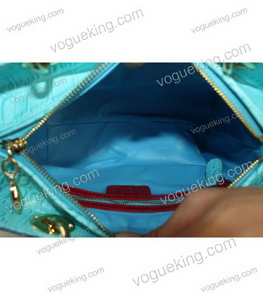 Christian Dior Small Lady Cannage Golden D Tote Bag Blue Croc Calfskin Leather With Green Handle-3