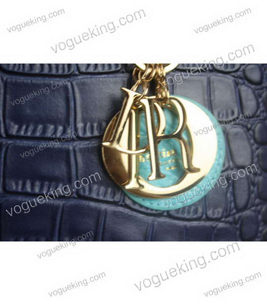 Christian Dior Small Lady Cannage Golden D Tote Bag Blue Croc Calfskin Leather With Green Handle-4