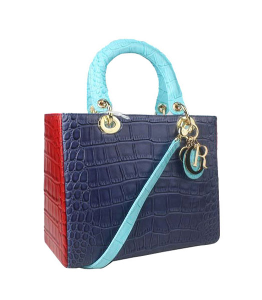 Christian Dior Small Lady Cannage Golden D Tote Bag Blue Croc Calfskin Leather With Green Handle