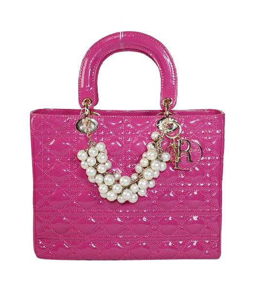 Christian Dior Medium Lady Cannage Fuchsia Patent Tote With Golden Chain And Pearl