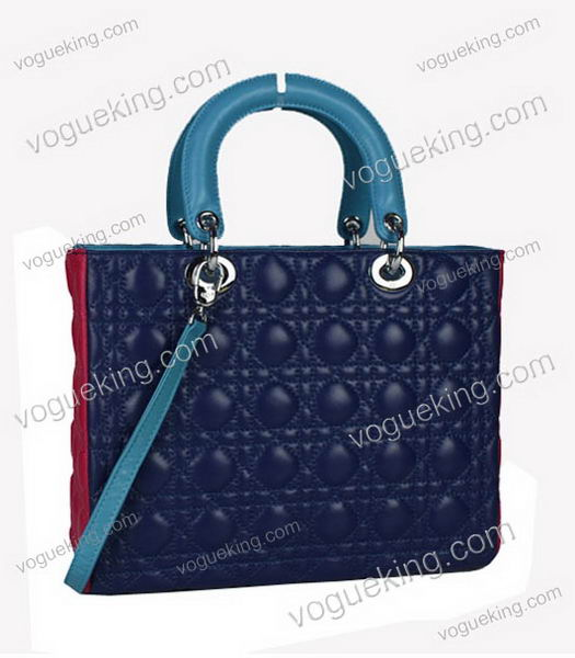 Christian Dior Medium Lady Cannage Silver D Tote Blue Lambskin Leather With Green Handle-1