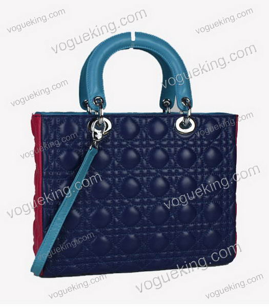 Christian Dior Medium Lady Cannage Silver D Tote Blue Lambskin Leather With Green Handle-2