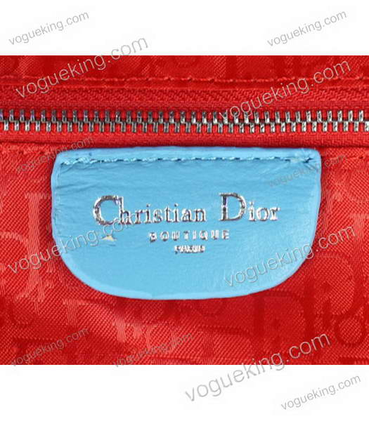 Christian Dior Medium Lady Cannage Silver D Tote Blue Lambskin Leather With Green Handle-5