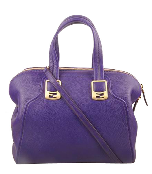Fendi Purple Imported Calfskin Leather Small Tote Bag