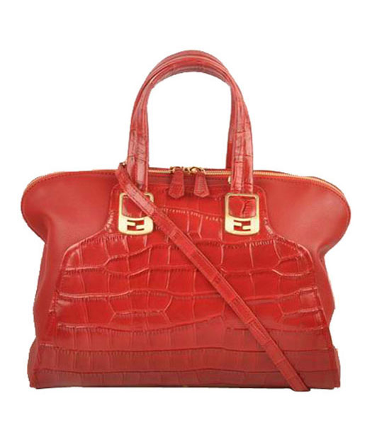 Fendi Red Croc Leather With Ferrari Leather Tote Bag