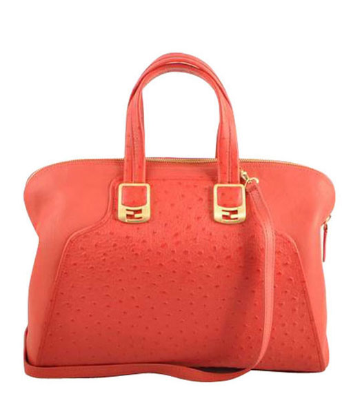 Fendi Watermelon Red Ostrich Veins Leather Tote Bag