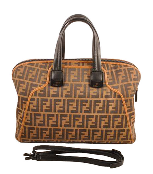 Fendi Fabric With Black Leather Tote Bag