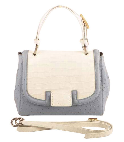 Fendi Silvana White Croc And Pink Blue Ostrich Veins Leather Bag