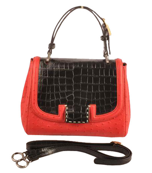 Fendi Silvana Black Croc And Red Ostrich Veins Leather Bag