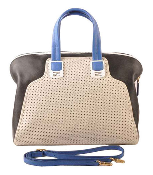 Fendi White Calfskin Covered By Holes With Black Leather Tote Bag