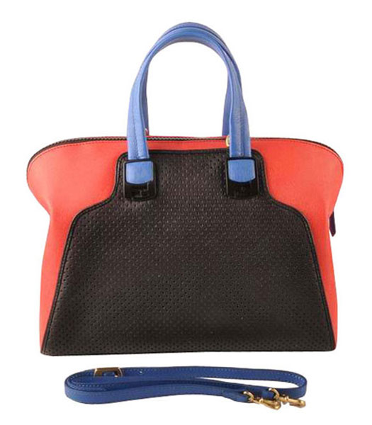 Fendi Black Calfskin Covered By Holes With Red Leather Tote Bag