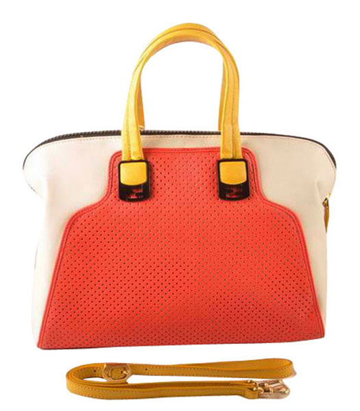 Fendi Red Calfskin Covered By Holes With White Leather Tote Bag