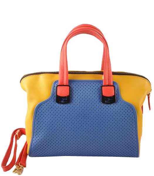 Fendi Blue Calfskin Covered By Holes With Yellow Leather Small Tote Bag