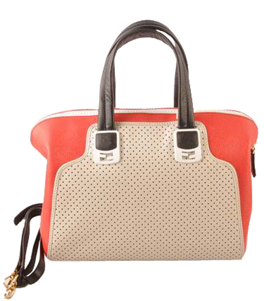 Fendi White Calfskin Covered By Holes With Red Leather Small Tote Bag