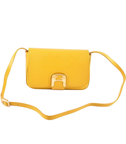 Fendi Chameleon Small Saddle Messenger Bag With Yellow Calfskin Leather