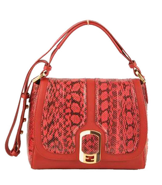Fendi Fuchsia Snake Veins Leather With Red Ferrari Leather Messenger Tote Bag