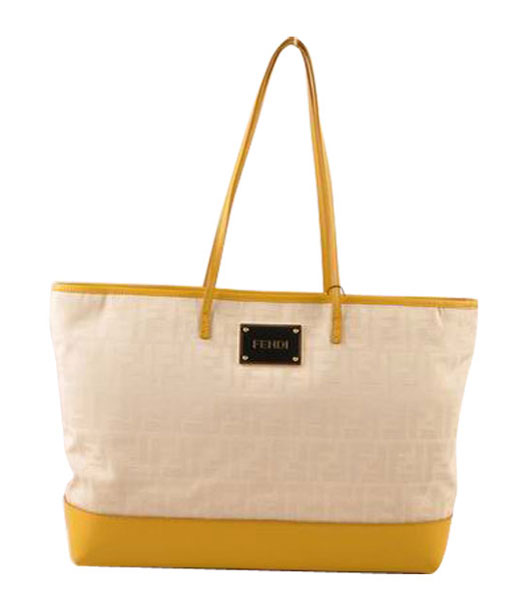 Fendi White F Fabric With Yellow Calfskin Leather Shoulder Bag