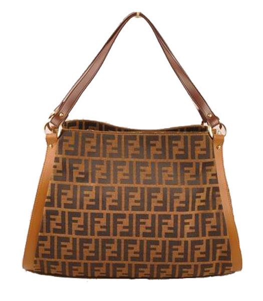 Fendi Zucca F Fabric with Earth Yellow Leather Shoulder Bag