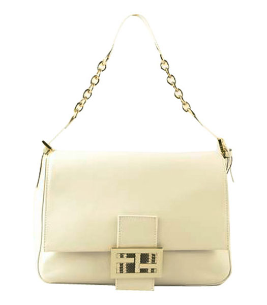 Fendi Forever Mama Shoulder Bag With White Ferrari Leather