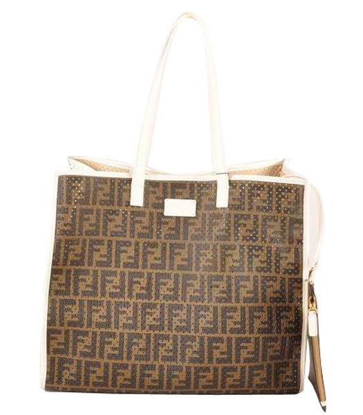 Fendi Large Shopping Bag Coffee F Fabric Covered By Holes With White Leather