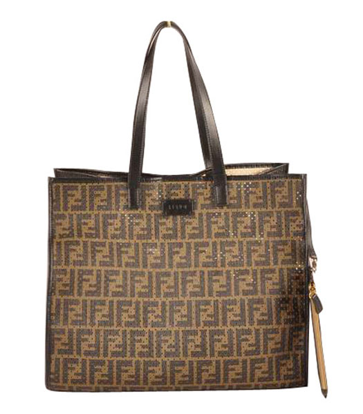 Fendi Large Shopping Bag Coffee F Fabric Covered By Holes With Black Leather