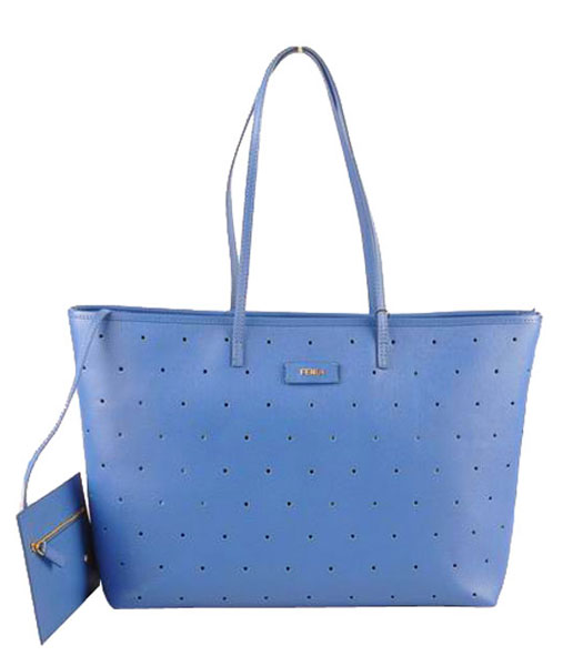 Fendi Medium Shopping Bag Blue Calfskin Leather Covered By Holes