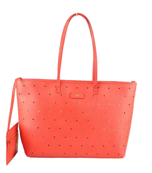 Fendi Medium Shopping Bag Red Calfskin Leather Covered By Holes