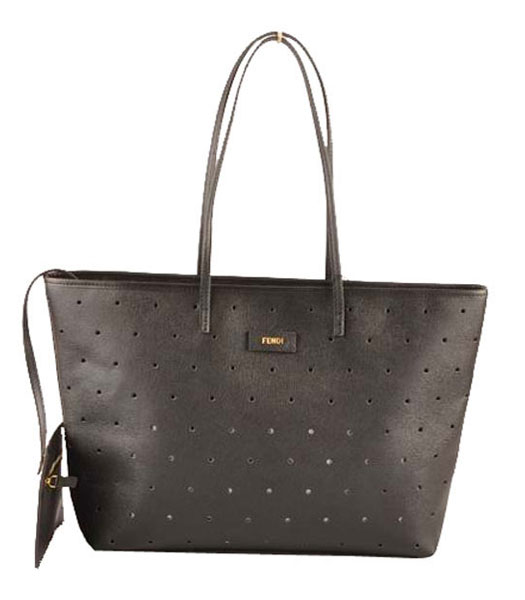Fendi Medium Shopping Bag Black Calfskin Leather Covered By Holes