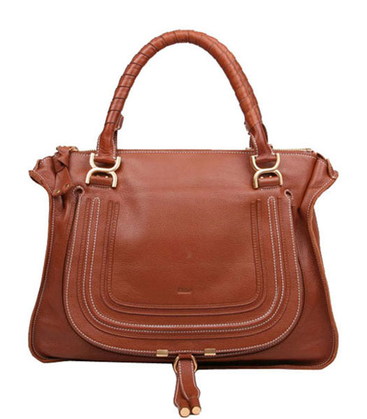 Chloe Marcie Leather Large Tote Bag In Light Coffee Leather