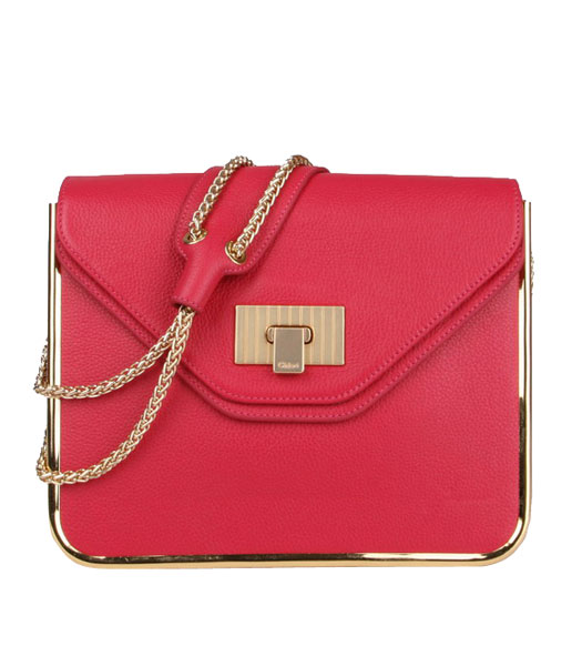 Chloe Sally Peach Calfskin Leather Shoulder Bag