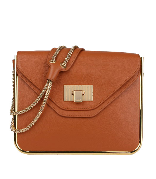 Chloe Sally Light Coffee Calfskin Leather Shoulder Bag