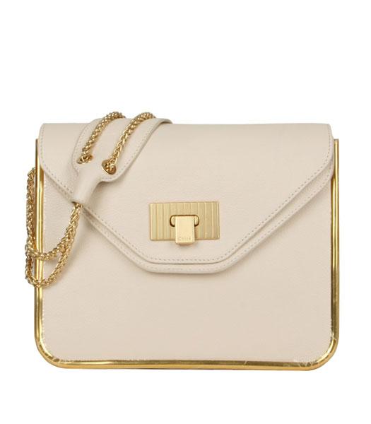 Chloe Sally Offwhite Calfskin Leather Shoulder Bag - Replica Handbags