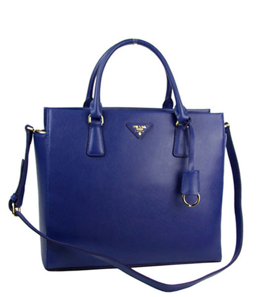 Prada Saffiano Blue Calfskin Leather Tote Bag