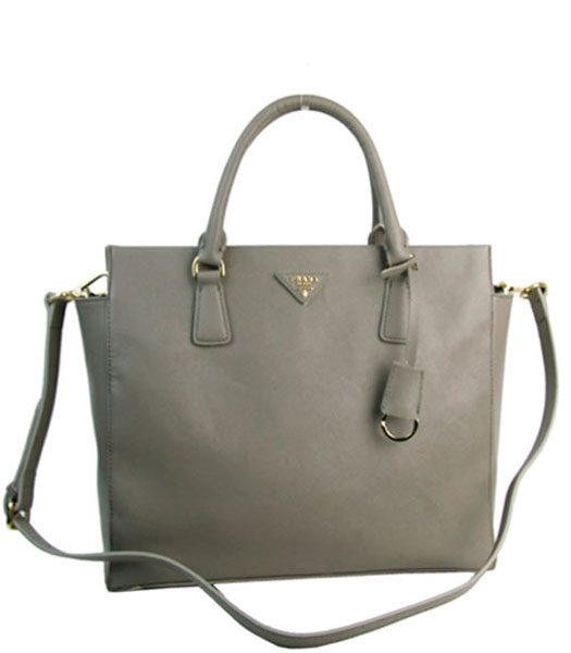 Prada Saffiano Grey Calfskin Leather Tote Bag
