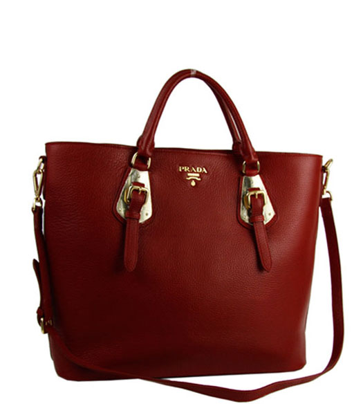 Prada Tessuto Imported Red Soft Calfskin Leather Bag