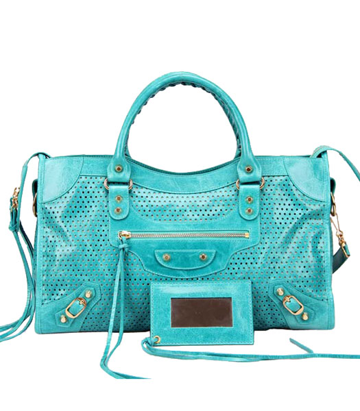 Balenciaga Handbag Imported Sea Blue Oil Leather With Golden Nails