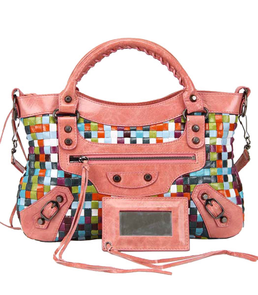 Balenciaga First Multicolor Woven Bag in Pink Calfskin Leather