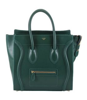 Celine Mini 33cm Large Tote Bag Dark Green Imported Leather