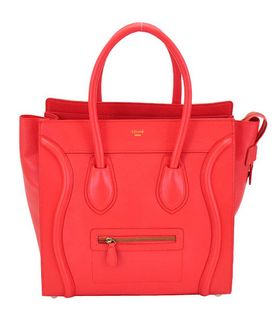 Celine Mini 33cm Large Tote Bag Watermelon Red Litchi Pattern Calfskin