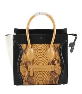 Celine Mini 30cm Medium Tote Bag Yellow Snake Veins Calfskin