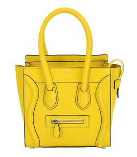 Celine Mini 26cm Small Tote Bag Light Yellow Calfskin
