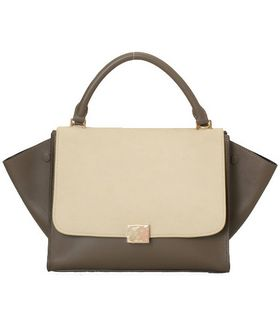 Celine Stamped Trapeze Shoulder Bag KhakiApricot Suede Leather