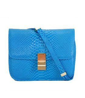 Celine Classic Box Small Flap Bag Blue Lizard Veins Calfskin