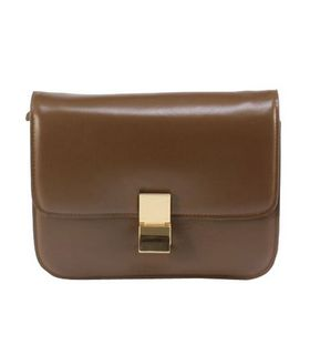 Celine Classic Box Small Flap Bag Apricot Calfskin Leather
