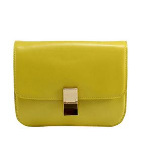 Celine Classic Box Small Flap Bag Yellow Calfskin Leather