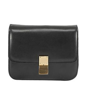 Celine Classic Box Small Flap Bag Black Calfskin Leather
