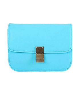 Celine Classic Box Small Flap Bag Sky Blue Calfskin Leather