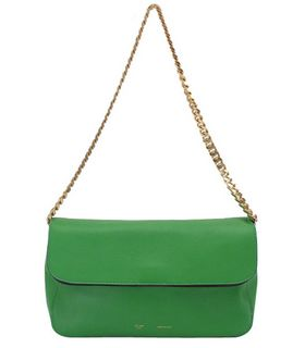 Celine Classic Flap Evening Clutch Bag Green Imported Leather
