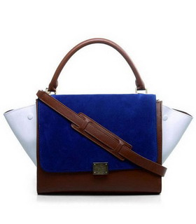 Celine Blue SuedeLight Coffee Imported Leather Stamped Trapeze Bag